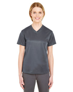 Charcoal Ladies' Cool & Dry Sport V-Neck T-Shirt