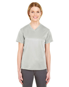 Grey Ladies' Cool & Dry Sport V-Neck T-Shirt