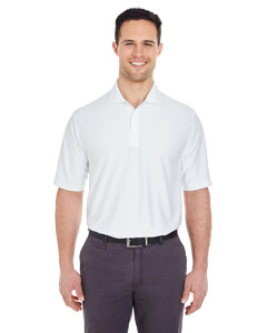 White Men's Cool & Dry Elite Tonal Stripe Performance Polo