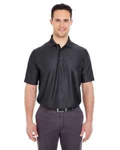Black Men's Cool & Dry Elite Tonal Stripe Performance Polo