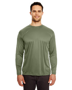 Military Green Adult Cool & Dry Sport Long-Sleeve Performance Interlock Tee