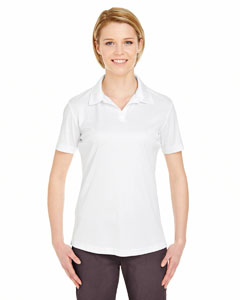White Ladies' Cool & Dry Sport Performance Interlock Polo