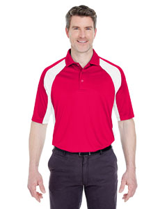 Red/ White Adult Cool & Dry Sport Performance Color Block Interlock Polo