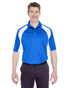 Royal/ White Adult Cool & Dry Sport Performance Color Block Interlock Polo