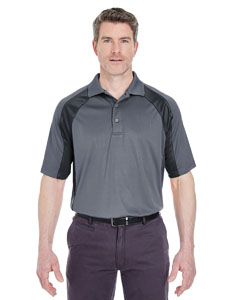 Charcoal/ Black Adult Cool & Dry Sport Performance Color Block Interlock Polo
