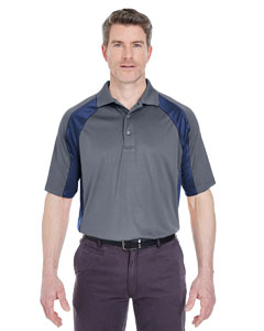 Charcoal/ Navy Adult Cool & Dry Sport Performance Color Block Interlock Polo