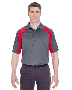 Charcoal/ Red Adult Cool & Dry Sport Performance Color Block Interlock Polo