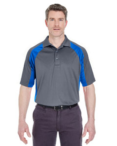 Charcoal/ Royal Adult Cool & Dry Sport Performance Color Block Interlock Polo