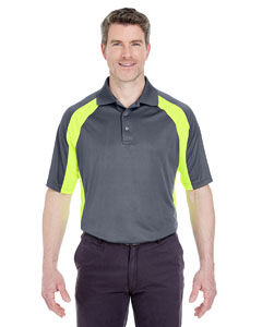 Chrcoal/ Brt Ylw Adult Cool & Dry Sport Performance Color Block Interlock Polo