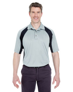 Grey/ Black Adult Cool & Dry Sport Performance Color Block Interlock Polo