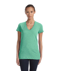 Green Triblend Women's Triblend Short-Sleeve Deep V-Neck T-Shirt