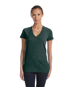 Emerald Triblend Women's Triblend Short-Sleeve Deep V-Neck T-Shirt