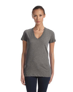 Grey Triblend Women's Triblend Short-Sleeve Deep V-Neck T-Shirt