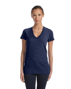 Navy Triblend Women's Triblend Short-Sleeve Deep V-Neck T-Shirt