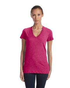Berry Triblend Women's Triblend Short-Sleeve Deep V-Neck T-Shirt