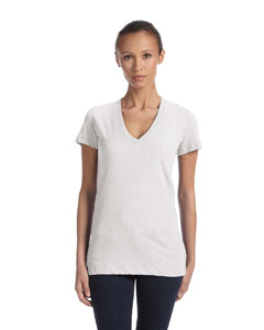 White Fleck Tribld Women's Triblend Short-Sleeve Deep V-Neck T-Shirt