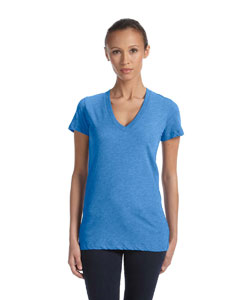 True Royal Trbln Women's Triblend Short-Sleeve Deep V-Neck T-Shirt