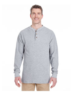 Heather Grey Adult Mini Thermal Henley