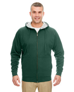 For Grn/ Hth Gry Adult Rugged Wear Thermal-Lined Full-Zip Hooded Fleece