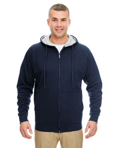 Navy/ Hthr Gry Adult Rugged Wear Thermal-Lined Full-Zip Hooded Fleece