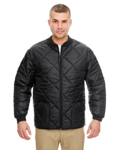 Black Adult Puffy Workwear Jacket with Quilted Lining