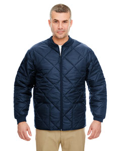 Navy Adult Puffy Workwear Jacket with Quilted Lining