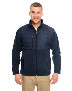 Navy Men's Fleece Jacket with Quilted Yoke Overlay