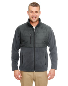 Charcoal Men's Fleece Jacket with Quilted Yoke Overlay
