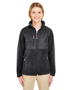 Black Ladies' Fleece Jacket with Quilted Yoke Overlay