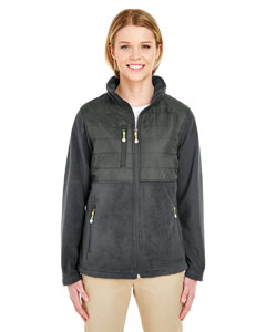 Charcoal Ladies' Fleece Jacket with Quilted Yoke Overlay