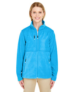 Kinetic Blue Ladies' Fleece Jacket with Quilted Yoke Overlay