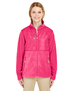 Raspberry Ladies' Fleece Jacket with Quilted Yoke Overlay