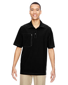 Black 703 Men's Excursion Crosscheck Performance Woven Polo