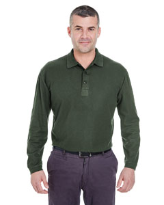 Forest Green Adult Long-Sleeve Whisper Piqué Polo