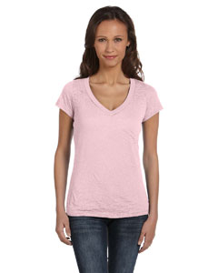 Soft Pink Women's Burnout Short-Sleeve V-Neck T-Shirt