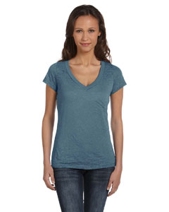 Steel Blue Women's Burnout Short-Sleeve V-Neck T-Shirt