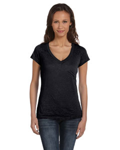 Black Women's Burnout Short-Sleeve V-Neck T-Shirt