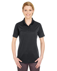 Black Ladies' Cool & Dry 8 Star Elite Performance Interlock Polo