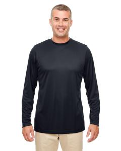 Black Men's Cool & Dry Performance Long-Sleeve Top