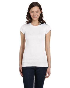 White Women's Sheer Mini Rib Short-Sleeve T-Shirt