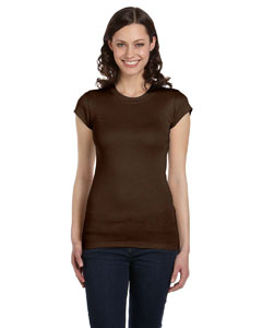 Chocolate Women's Sheer Mini Rib Short-Sleeve T-Shirt
