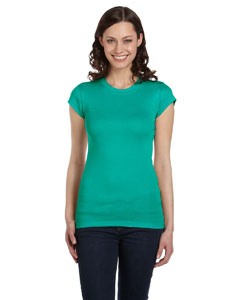 Teal Women's Sheer Mini Rib Short-Sleeve T-Shirt