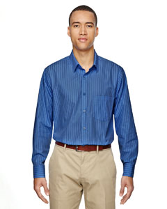 Deep Blue 799 Men's Align Wrinkle-Resistant Cotton Blend Dobby Vertical Striped Shirt