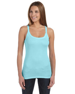 Light Aqua Women's Sheer Mini Rib Thin Strap Tank