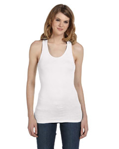 White Women's Sheer Mini Rib Racerback Tank