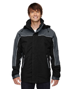 Black 703 Men's 3-in-1 Seam-Sealed Mid-Length Jacket with Piping