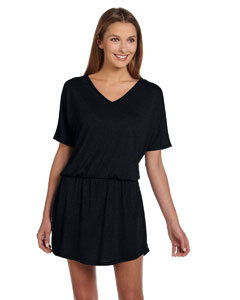 Black Women's Flowy V-Neck Dress