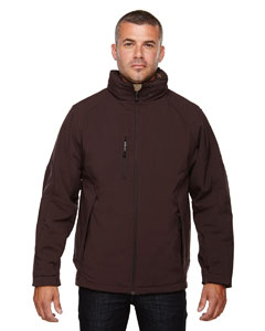 Dk Chocolte 672 Men's Glacier Insulated Three-Layer Fleece Bonded Soft Shell Jacket with Detachable Hood