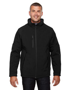 Black 703 Men's Glacier Insulated Three-Layer Fleece Bonded Soft Shell Jacket with Detachable Hood