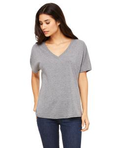 Grey Triblend Women's' Flowy Simple V-Neck T-Shirt